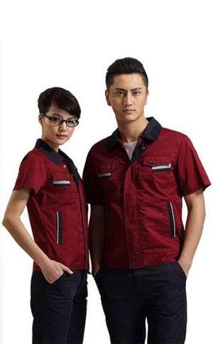 枣红色时尚拼接工服
